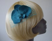 RESERVED: Turquoise Flower Hair Comb- Turquoise Orchid Hair Comb (Flat)