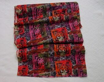 "Nice Vintage Cotton Fabric, Bright Modern Print, 35"" Wide, 4 Yards, Designer Signed"