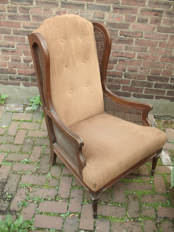 Vintage cane wingback chair living room furniture by shoponsherman for Wingback recliner chairs living room