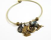 Hummingbird Wire Charm Bangle  Bracelet