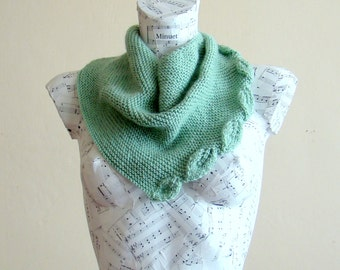 Hand knit green baktus scarf mint green scarf handmade knitted scarves lovely leaf lace scarf handmade scarves for sale scarves for women