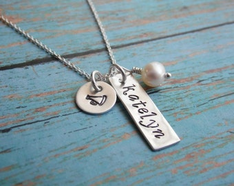 Necklace with Hand Stamped Name and Sterling Tag and Cheerleader Megaphone Stamped Charm