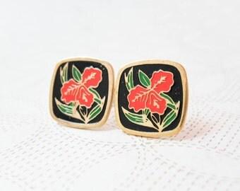 Iris Enamel Earrings - Orange Iris / Black Background - Shabby Chic - Surgical Steel Earrings - Vintage Cabochons - Square Earrings