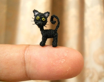 Cute Black Cat - Micro Mini Amigurumi Art Decor Crochet Cat Kitten - Made to Order