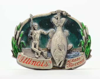 Vintage Illinois Belt Buckle | Fisherman Illinois State Record Fish USA | American Made in America Worldwide Shipping | Travel BB13