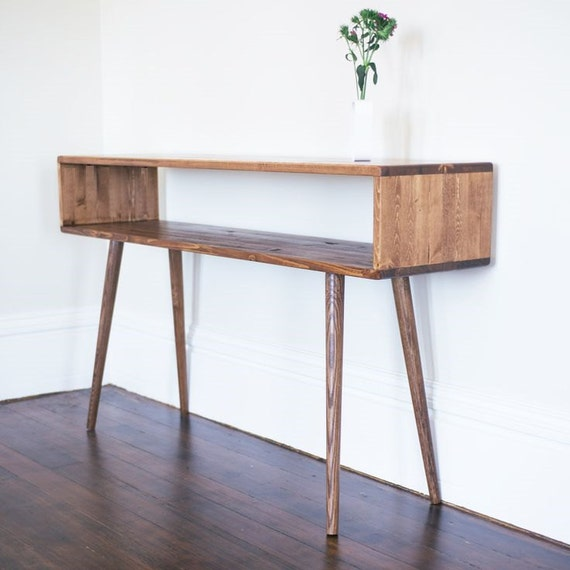 Mid century inspired sofa table entry table made to order for Foyer console table