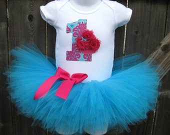 Baby's First Birthday Fuchsia and Turquoise Cupcake Tutu Set and Matching Headband | Birthday Photo Prop, Party Dress