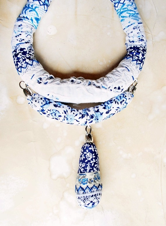 China Porcelain -big chunky statement fabric textile floral necklace
