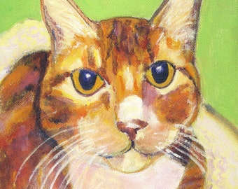 "Orange tabby cat art, 5"" x 5"" blank card"