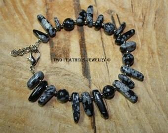 Snowflake Obsidian Bracelet - Natural Stone Bracelet - Black And Silver - Black And Gray - Beaded Bracelet - Gift For Her - Made In USA