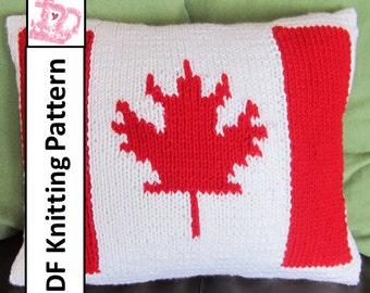 "PDF KNITTING PATTERN, Canadian Flag knitting pattern, 12""x16"", Canadian Flag knitting pillow cover"