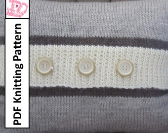 """PDF KNITTING PATTERN, knit pillow cover pattern, stripe pillow cover pattern, 12""""x16"""", Button Stripe pillow cover"""