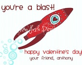 Valentine's Day Cards Printable for Kids You're a Blast ( Rocket ) INSTANT DOWNLOAD 5 colors and 2 sizes