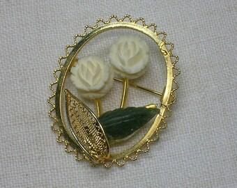 Carved Roses Brooch, Nephrite Jade Leaf, Sorrento style Preppy Retro