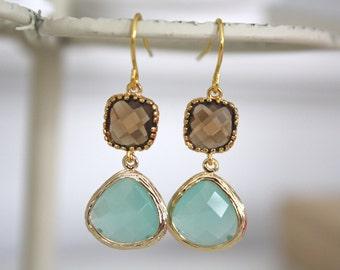 Mint Earrings, Aqua Earrings, Gold Earrings, Bridesmaids Earrings, Bridesmaid Gifts, Bridesmaid Jewelry, Gifts for Her, Best Friend Gifts