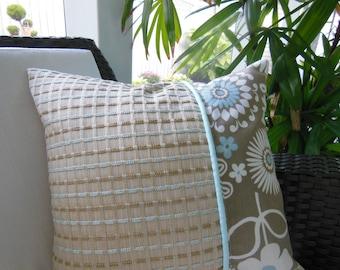 Mode Gemma Latte Designer Pillow - Decorative Accent Throw Pillow - Tan, Aqua, Beige, Pale Blue Pillow - Checked - 15 x 15 Inch Reversible
