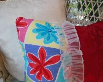 Boho Pillow - Dorm Decor - Drastically Reduced - Decorative Pillow Clearance - Bright Red Flower Power Accent Pillow - Girls Bedroom Pillow