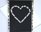 Running Word Heart Art Print Handmade Greeting Card - Black and White w/ Animal Print - Motivational, Good Luck, Encouragement for Runners