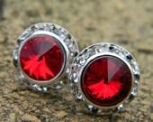 Ruby Red Stud Earrings, 13mm Swarovski Rivoli Stud Earrings, Rhinestone Earrings, Wedding Earrings, Crystal Studs, Vintage Earrings