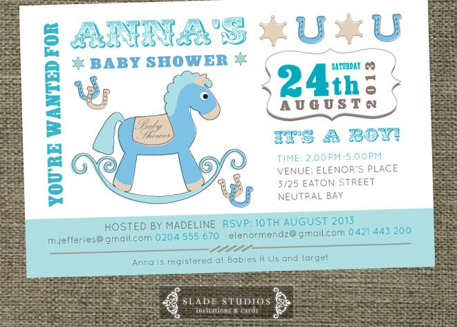 vintage rocking horse baby shower invitations printable