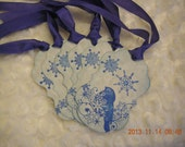 Little Blue Snow Bird Christmas Parchment Gift Tags (6)  - snow, parchment, ribbon, snowflake