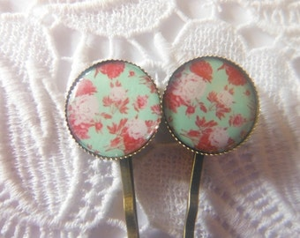 Mint and Apricot  And Pink Roses Flower  Bobby Pins
