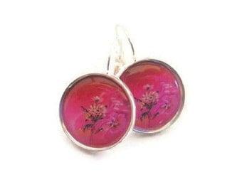 Hot Pink Cherry Blossom Flower Earrings