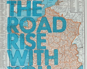France / May The Road Rise With You/ Letterpress Print on Antique Atlas Page