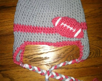 Crochet football hat with earflap girl boy version any color