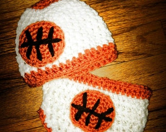 Basketball crochet hat and diaper cover- Newborn-3m