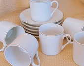 Vintage Demitasse Cups & Saucers  Espresso Expresso Cappuccino 5 Sets with 1 Extra Cup  White Porcelain
