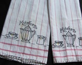 Pair of Matching Vintage Embroidered Cotton Kitchen Dish Hand Towel