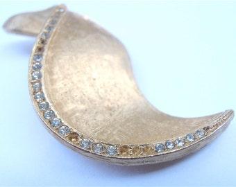 Vintage Wave Brooch Art Deco S Shape Pin Vintage Rhinestone Brooch Gold Tone Brooch Satin Finish Pin Gold Rhinestone Pin Gold Matte Pin