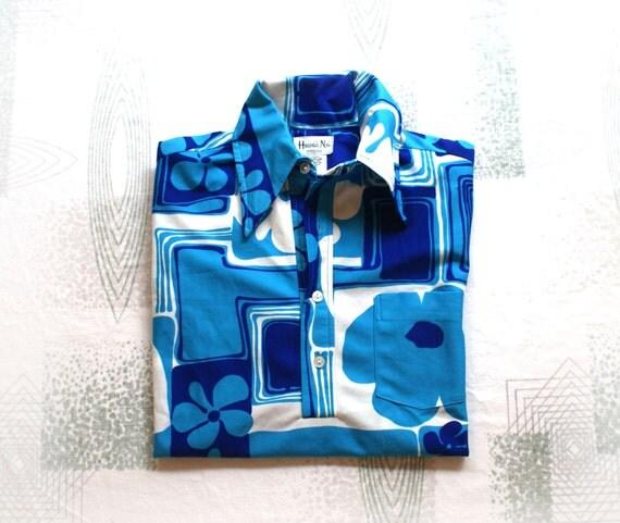 60s Vintage Mod Hawaiian Shirt - Hawaii Nei - Royal Blue and Turquoise Men's Medium - Honolulu