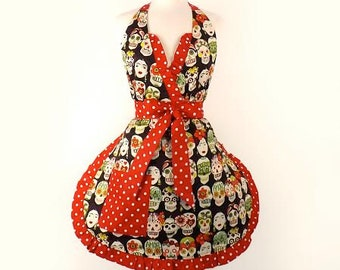 Frida and Skulls Apron
