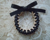 Ribbon bracelet with glass beads - Ivory and black ribbon bracelet with black glass beads
