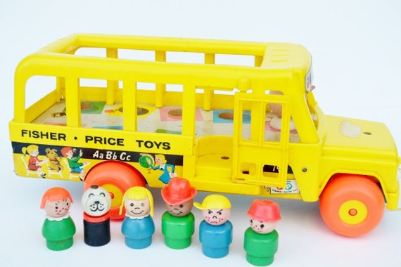 fisher price little people school bus pull toy yellow orange. Black Bedroom Furniture Sets. Home Design Ideas