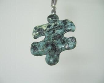 RA77 Autism Awareness Puzzle Piece Rock Pendant