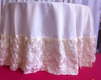 Custom Made Ivory Rosette Tabelcloth 108 Round Satin With Ivory Rosette Border
