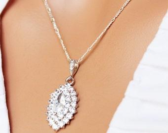 Silver Cubic Zirconia CZ Marquise Wedding Necklace, Crystal Bridal Necklace, Bridesmaids Crystal Pendant