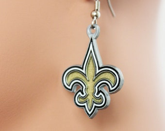 New Orleans Saints Earrings, Football Fan Earrings, Saints Fans Dangle Earrings, Perfect Gift for Football Fans