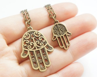Hamsa Hand of Fatima - Antiqued Brass Vintage Style Necklace - KR321/322
