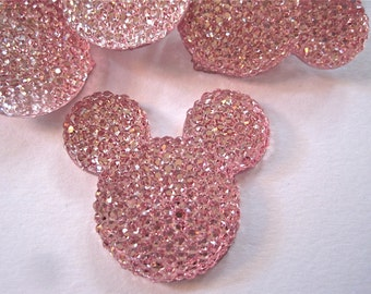Pink Glitter Mouse Ears Cabochons Embellishment Buttons