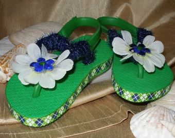 One of a Kind - Hand Decorated - Baby Girl Flip Flops size 3/4  (green, white & blue)