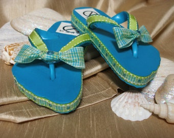 One of a Kind - Hand Decorated - Child's Flip Flops 5 (turquoise, lime green & white)