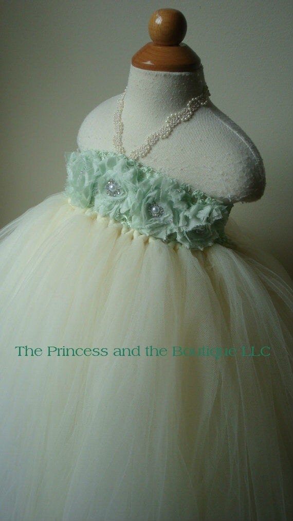 Ivory flower girl dress with mint green chiffon flowers. Tutu flower girl dress