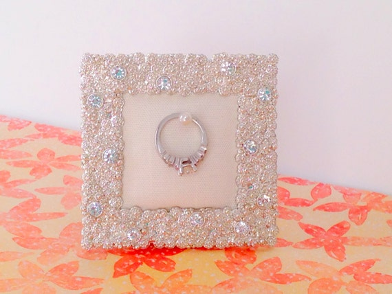 Wedding ring holder small square diamond rhinestone frame: engagement ring holder, bridal shower gift, for her, ring stand
