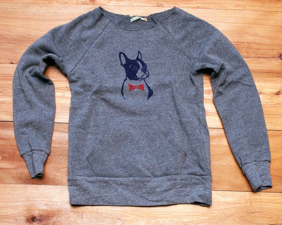 you handsome devil Boston Terrier Sweatshirt, Bowtie Dog Sweater, Grey Sweater, S,M,L,XL,2XL