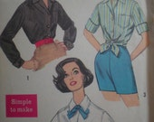 1960s Simplicity Button Front Blouse in 3 Styles, Sewing Pattern 3260, Size 12, Bust 32