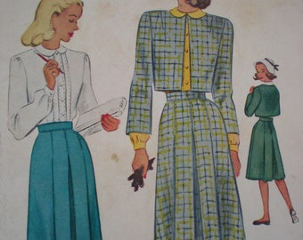 1947 McCall's Suit Sewing Pattern, Size 12, Bust 30, Uncut